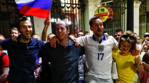 England fans and local residents in Nizhny Novgorod