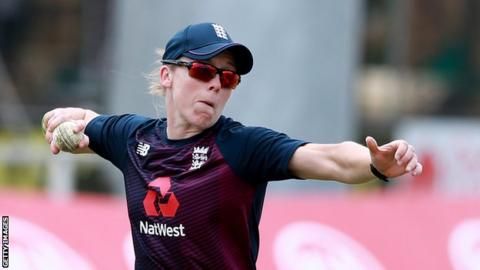 England captain Heather Knight in training