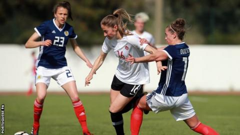 Nicola Docherty playing for Scotland against Canada