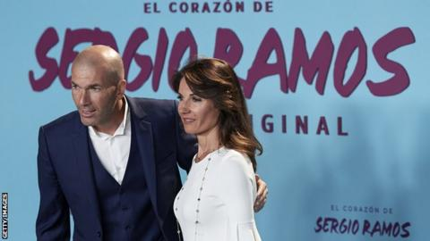 Real Madrid manager Zinedine Zidane and his wife attending the premiere of El Corazon de Sergio Ramos