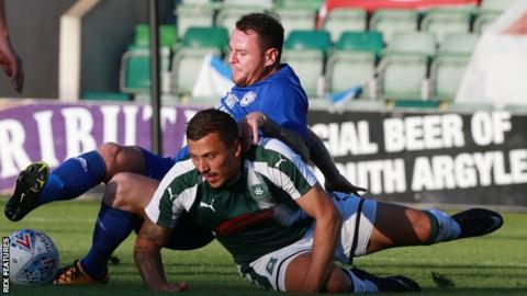 Plymouth's Antoni Sarcevic battles for the ball with Cardiff City's Aron Gunnarsson