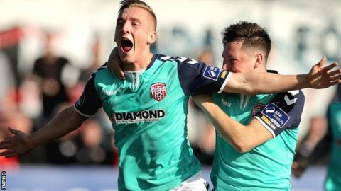 Joy for Ronan Ronan Curtis after he levels for Derry in the FAI Cup semi-final at Oriel Park