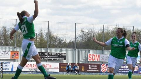 Hibs' Abi Harrison celebrates as she completes her hat-trick against Glasgow City