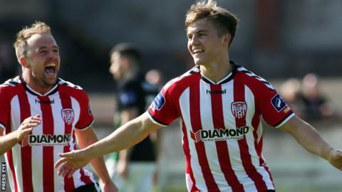 A delighted Josh Daniels celebrates netting Derry's opener against Bray on Sunday