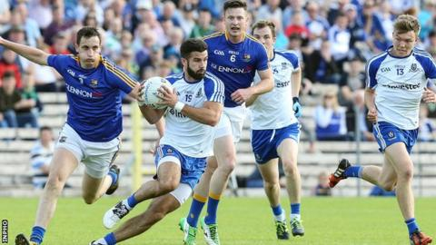 Monaghan's Neil McAdam attempts to move clear in the three-point defeat by Longford at Clones