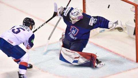 Ben Davies scores the over-time winning goal for Great Britain against France at the 2019 Ice Hockey World Championships in Slovakia