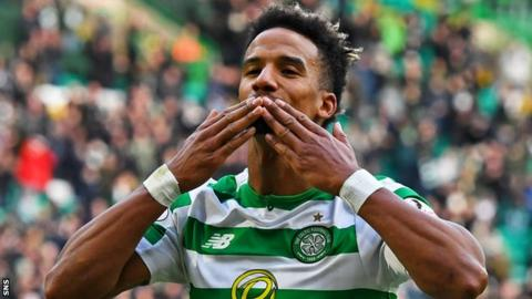Scott Sinclair celebrates scoring for Celtic