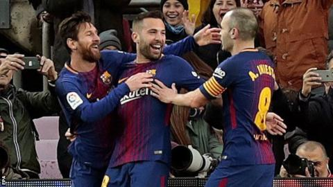 Messi played a clever one-two with Alba before opening the scoring
