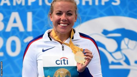 Great Britain's Hannah Cockcroft with her gold medal in Dubai