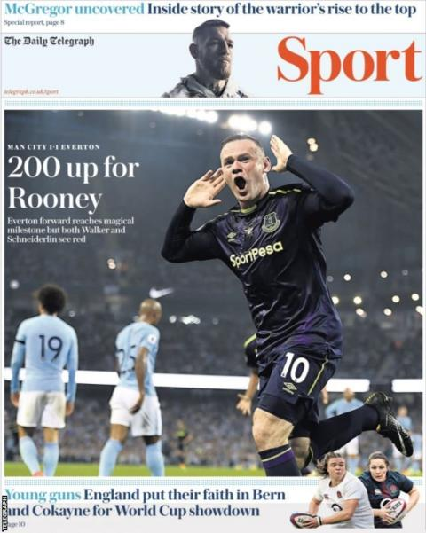 The Telegraph sports section leads with Wayne Rooney scoring his 200th Premier League goal...