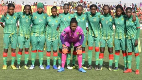 Mauritania's team for its first women's international game in July 2019