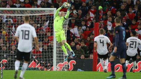 Goalkeeper Jordan Pickford made his England debut in a friendly against Germany at Wembley last November
