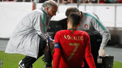Cristiano Ronaldo injured in Portugal's draw with Serbia