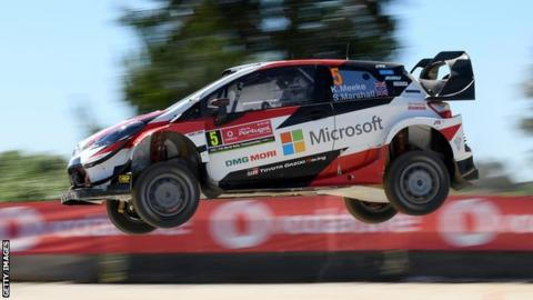 Kris Meeke and Sebastian Marshall compete in their Toyota during the WRC Rally of Portugal