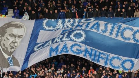 Everton fans display a Carlo Ancelotti banner
