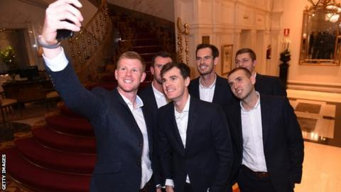 Great Britain's Davis Cup team pose for a selfie