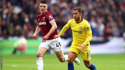 Eden Hazard in action against West Ham on Sunday