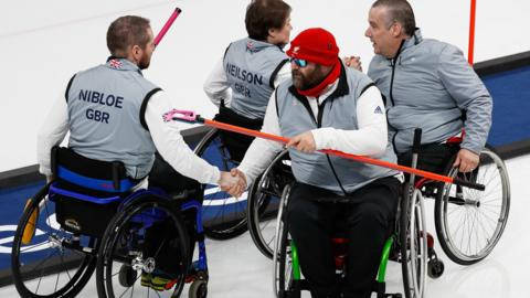 Great Britain's Wheelchair Curling team from the 2018 Winter Paralaympics