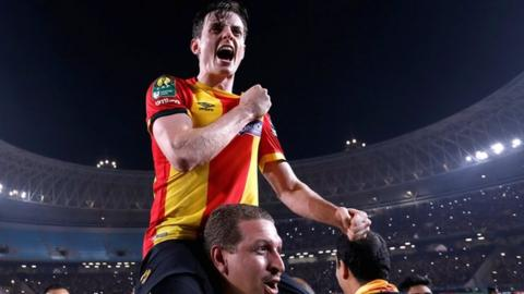 Ayman Ben Mohamed celebrates winning the African Champions League with Esperance