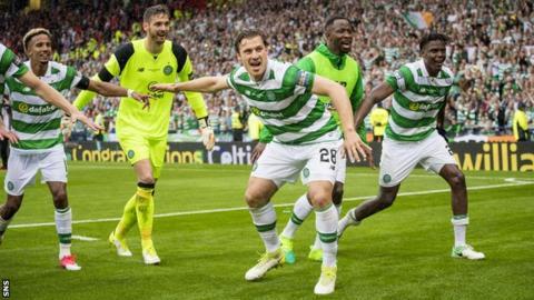 Erik Sviatchenko celebrates with Celtic