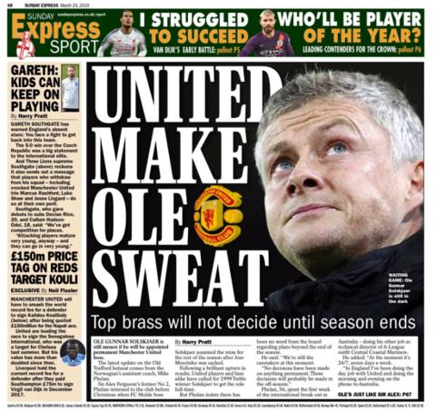 The Sunday Express leads on an update on Ole Gunnar Solskjaer's Manchester United future