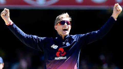 Joe Root celebrates taking a wicket against Australia