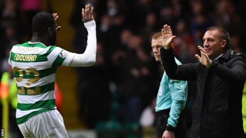 Odsonne Edouard celebrates a goal against Motherwell with manager Brendan Rodgers