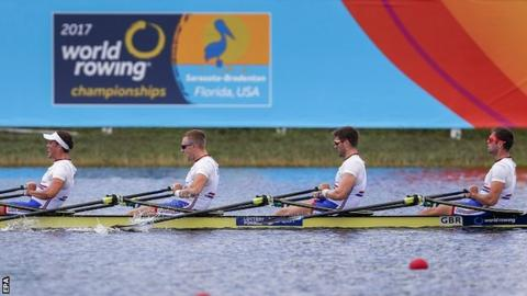 Jack Beaumont (R), Jonathan Walton (2-R), John Collins (2-L) and Peter Lambert (L) of Great Britain