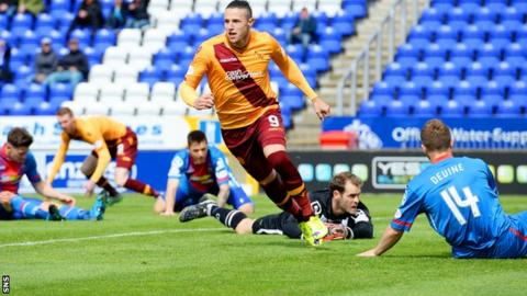 Motherwell's Wes Fletcher celebrates scoring