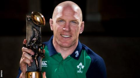 Paul O'Connell with the Irish rugby writers award
