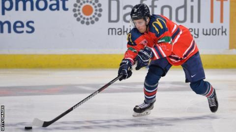 Joey Lewis for GB v Torpedo Nizhny Novgorod ice hockey exhibition game on April 28, 2019