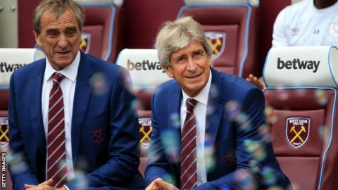 Manuel Pellegrini in the West Ha dugout