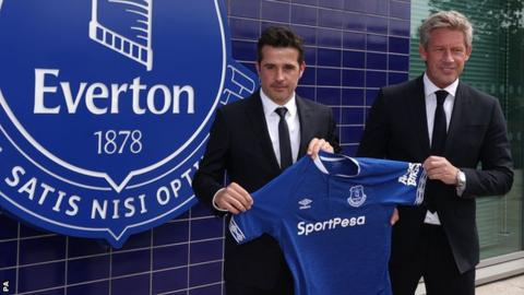 Silva (left) was joined by director of football Marcel Brands for his first news conference