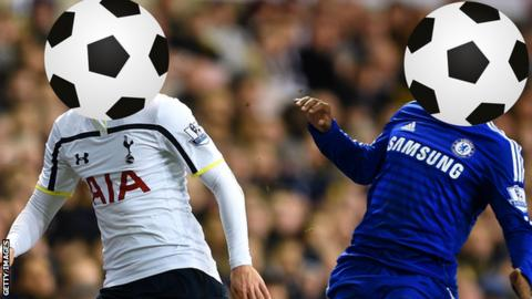 A Tottenham and Chelsea player with their faces covered by footballs