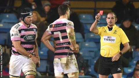 George Earle is shown a red card