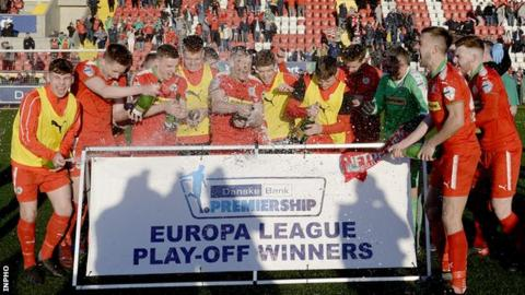 Cliftonville celebrate after beating Glentoran in the Europa League play-off final
