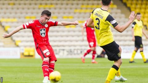 Stephen Mallan scores for St Mirren against Livingston