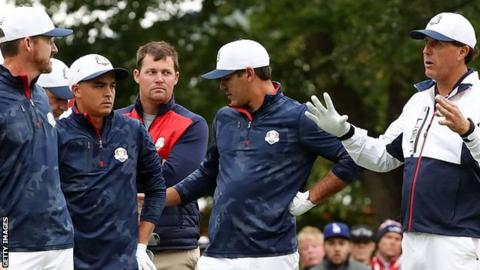 (l-r) Jimmy Walker, Rickie Fowler, Brooks Koepka and Phil Mickelson