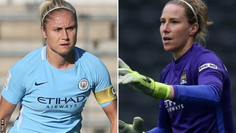 Steph Houghton (left) and Karen Bardsley