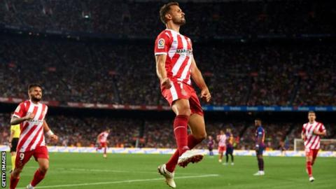 Cristhian Stuani celebrates scoring for Girona at Barcelona