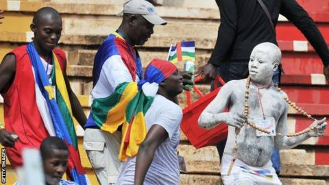 Central African Republic's supporters enjoy watching their team