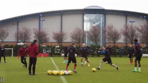 Rangers youths training at Auchenhowie
