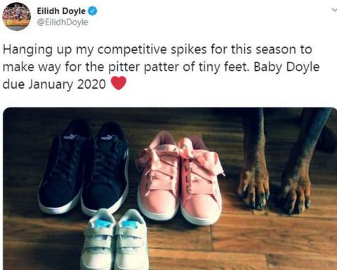 Eilidh Doyle tweeted to announce her first child is due in January