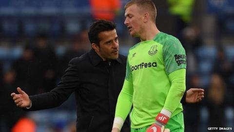 Everton boss 'not happy' about Pickford fracas