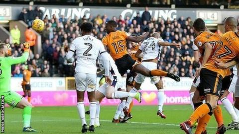 Wolves defender Willy Boly's opening header was his second goal for the club, but his first at Molineux