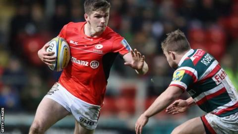 Owen Farrell in action for Saracens against Leicester
