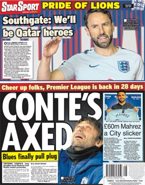 Conte's departure from Chelsea and England's 2022 World Cup dreams feature on the back of the Star