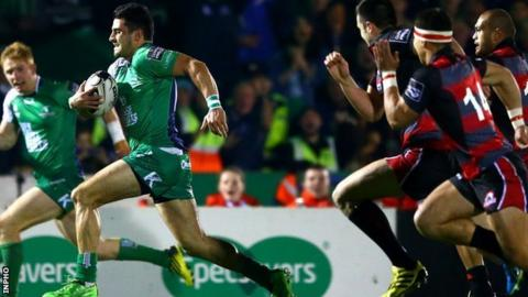 Connacht's Tiernan O'Halloran sprints clear to score a try against Edinburgh