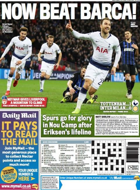 Mail back page on Thursday