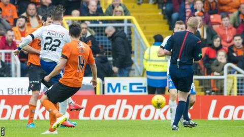 Kevin McHattie scores for Kilmarnock against Dundee United
